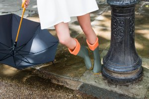 Windsor Wellington Boots in Green and Orange