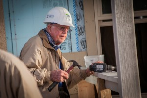 DENVER, COLORADO, USA (10/09/2013) - President Jimmy Carter works on the front porch of a new home at the main work site during the 30th Jimmy & Rosalynn Carter Work Project.  ©Habitat for Humanity International/Chris Haugen